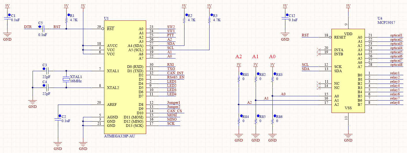 Schematic of the microcontroller and I2C expander