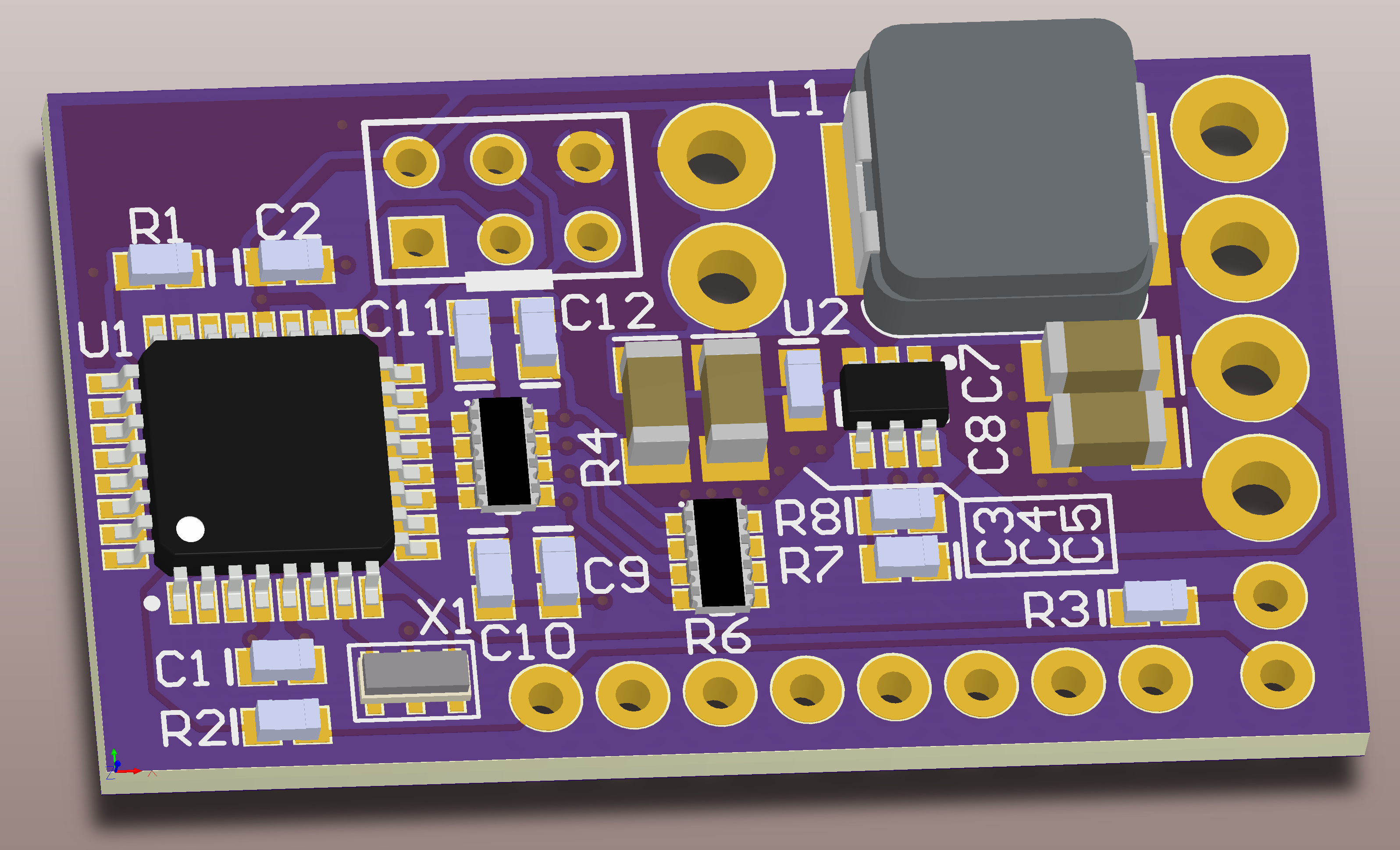 Rendering of populated PCB